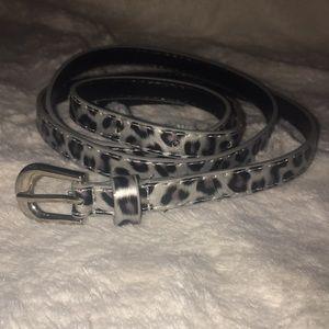 Silver leopard thin belt L/XL